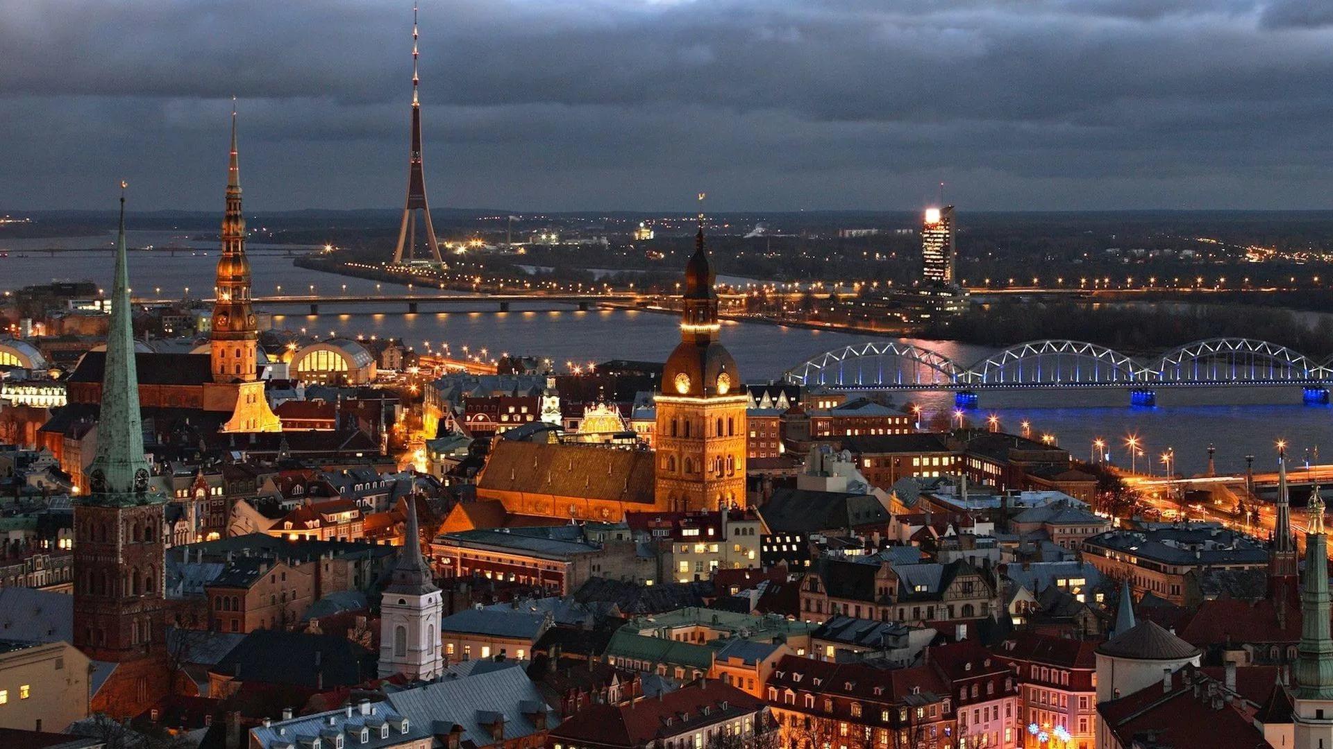Riga, capitale of Latvia, by night