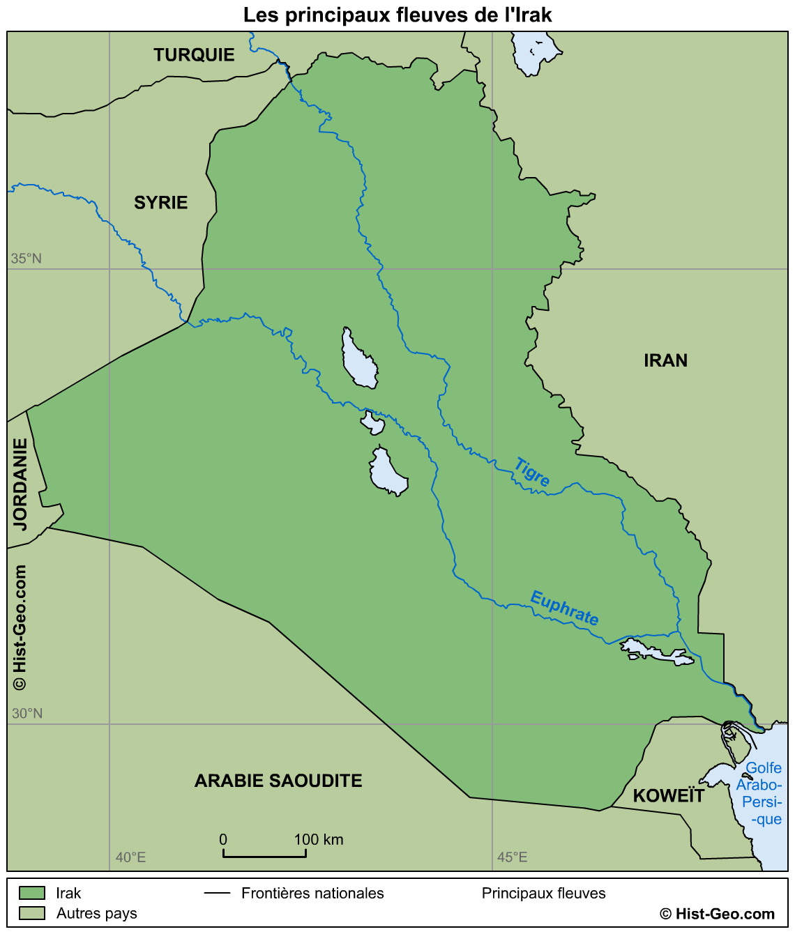 tigre et euphrate carte Irak   fleuves Tigre, Euphrate et Chatt el Arab • Map