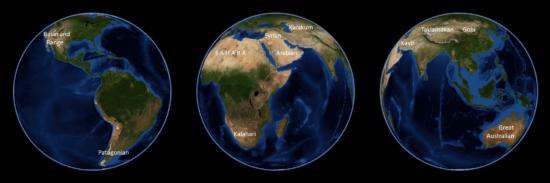 Monde - Déserts (satellite)
