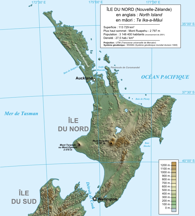New Zealand North Island Topographic Map Populationdata Net