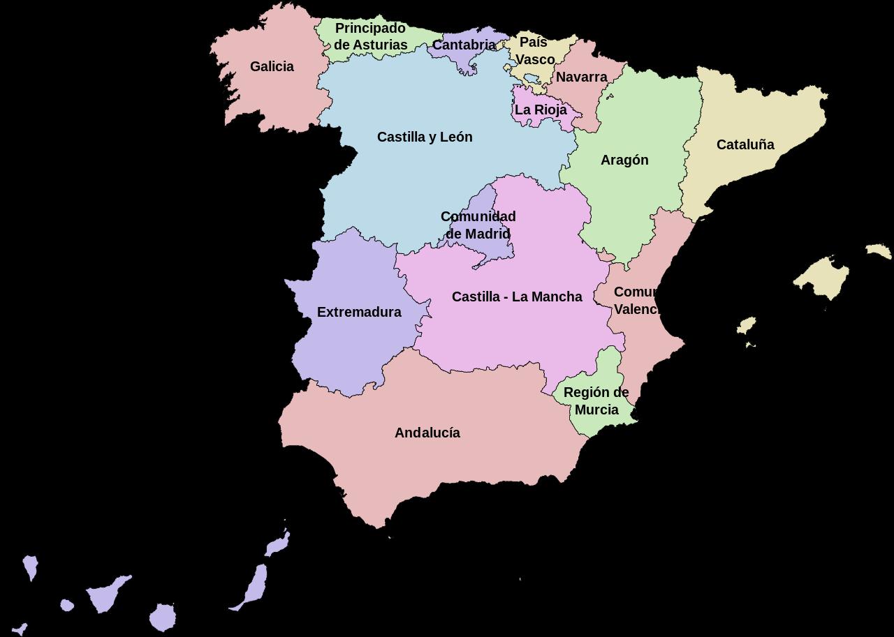 Spain - autonomous communities (regions) • Map ...