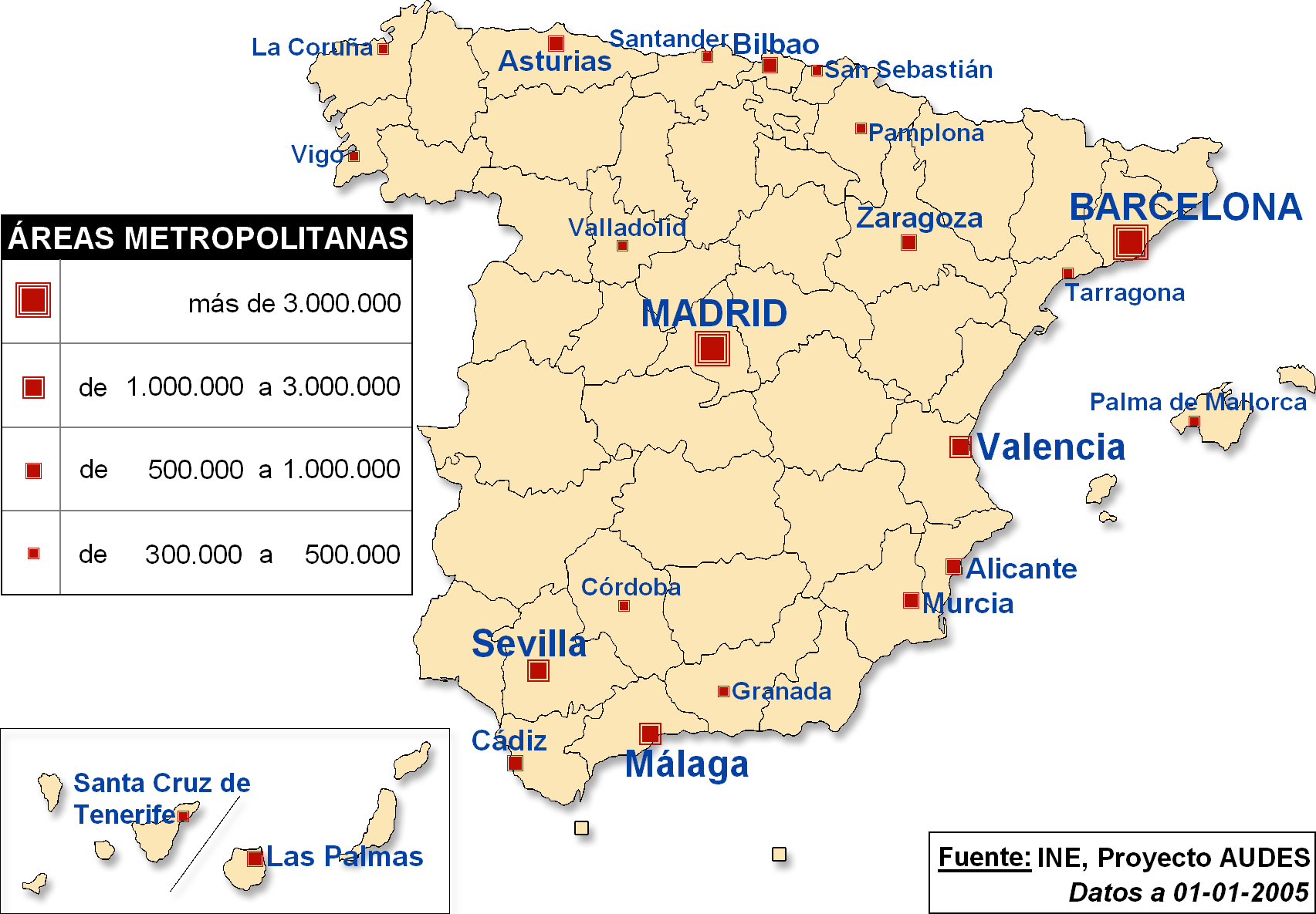 Big Map Of Spain.Spain Big Cities 2005 Map Populationdata Net