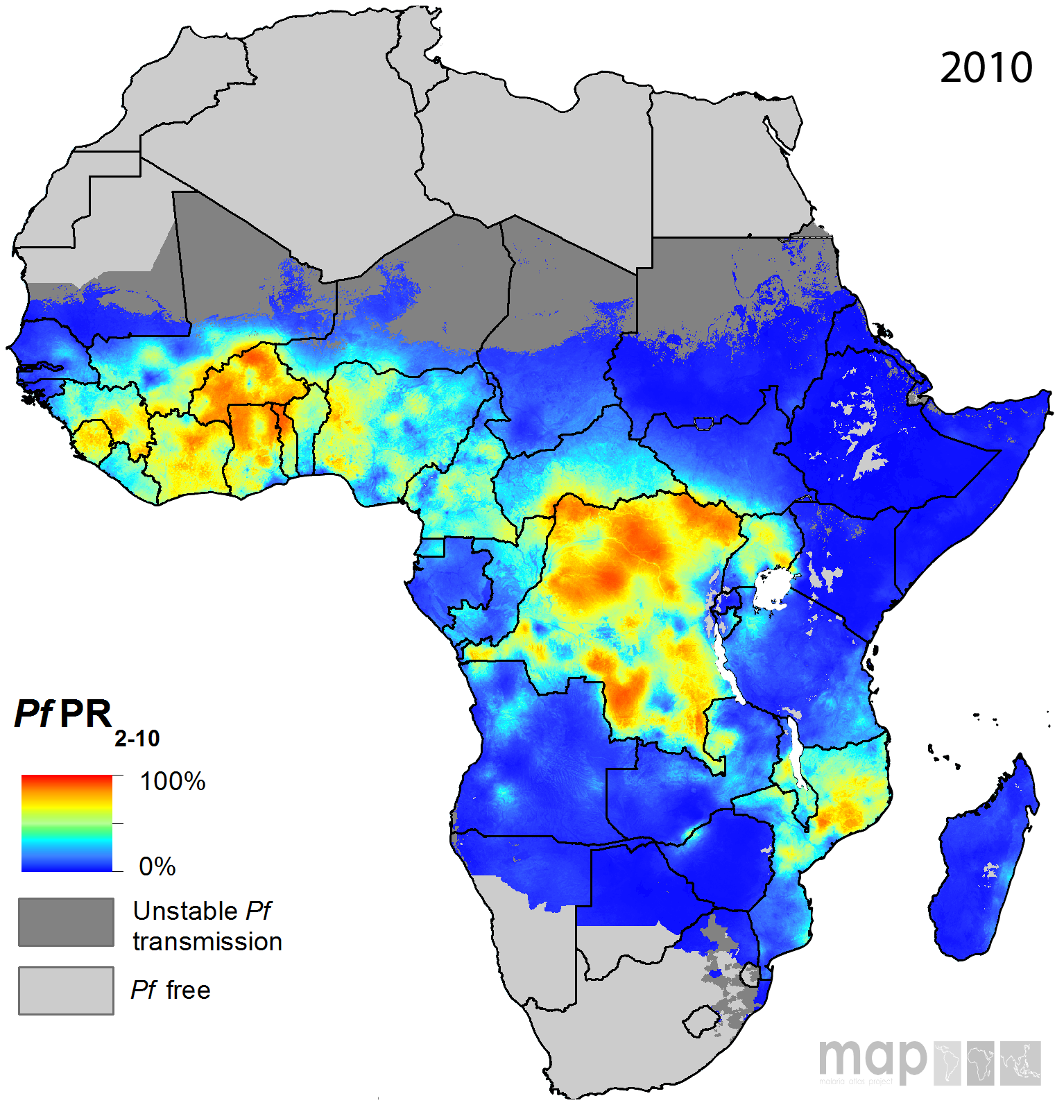 Map Of Africa 2010.Africa Malaria Prevalence 2010 Map Populationdata Net