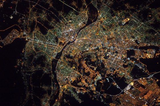 Cairo, Egypt, seen by night from space