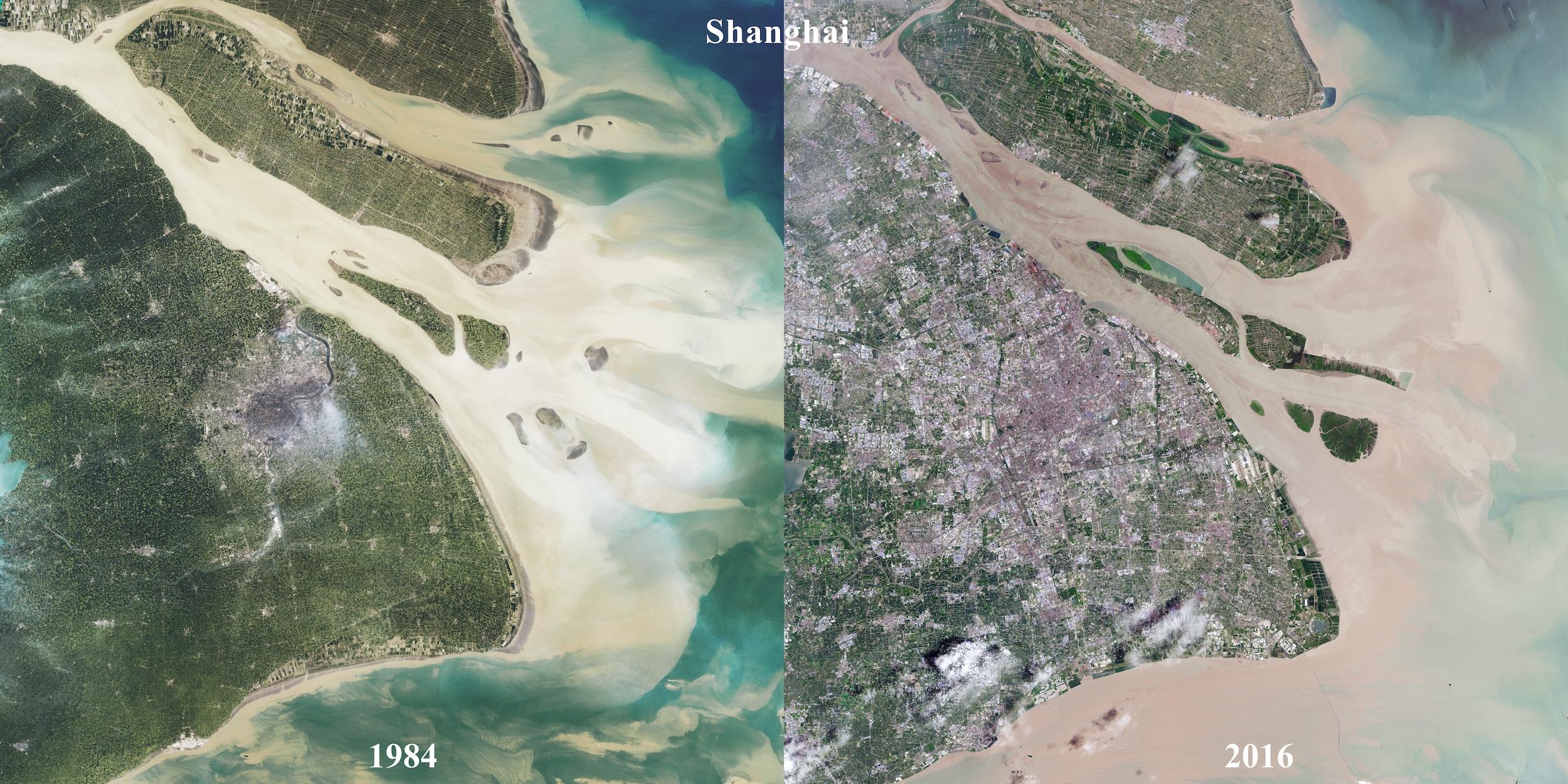 Shanghai - évolution de l'urbanisation (1984-2016)