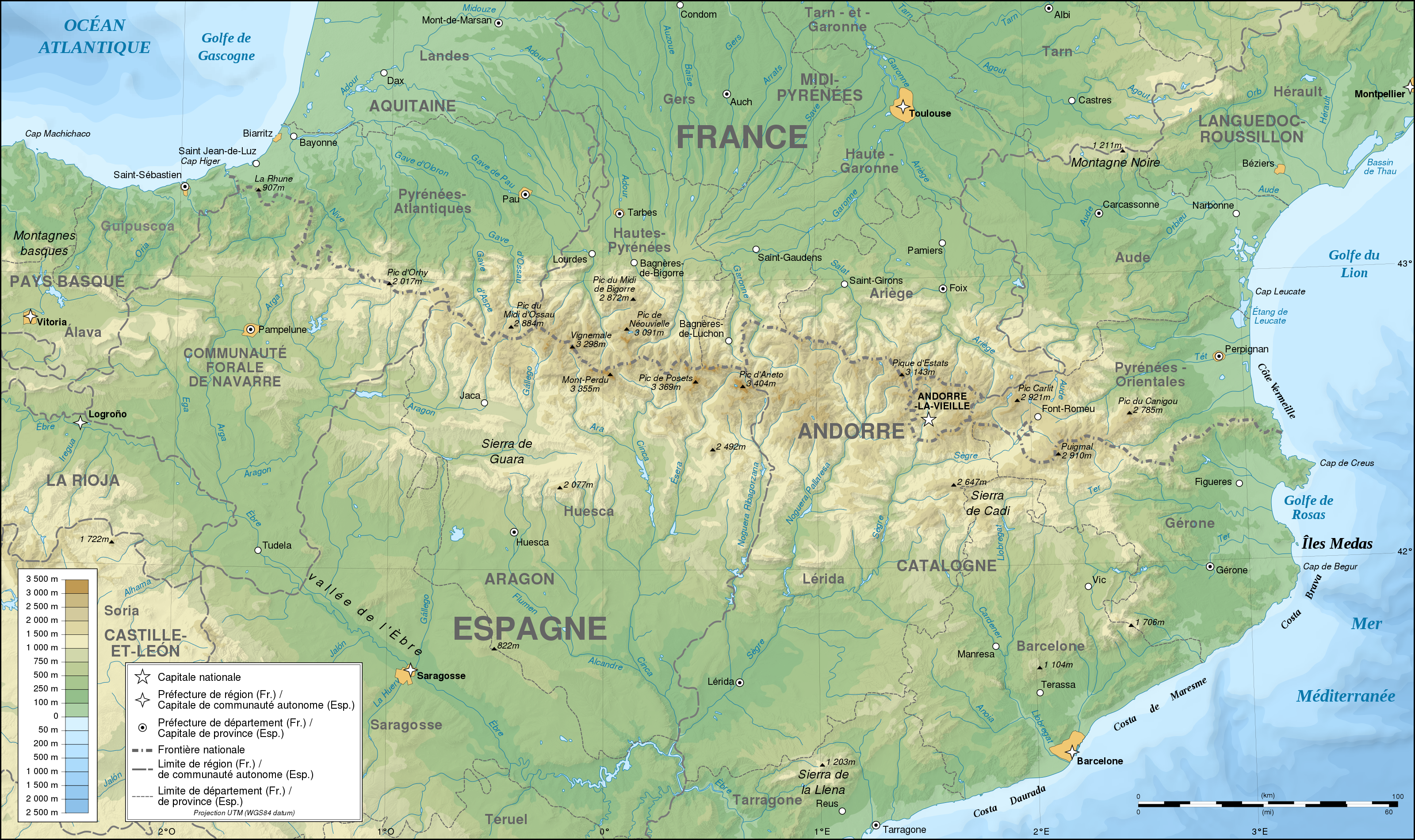 Map Of Spain Reus.France Spain Pyrenees Topographic Map Populationdata Net