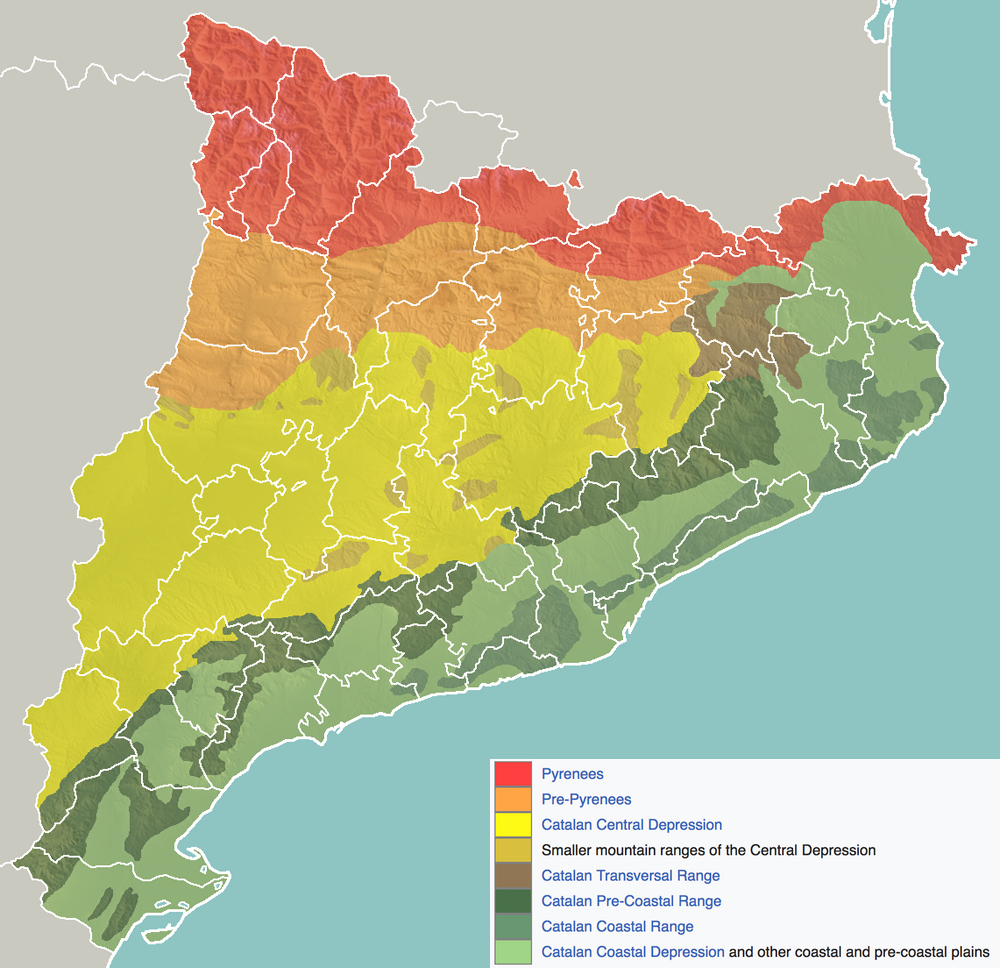 Map Of Spain Showing Catalonia.Spain Catalonia Geomorphology Map Populationdata Net