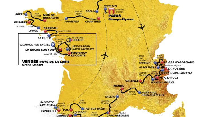 Map of the Tour de France 2018