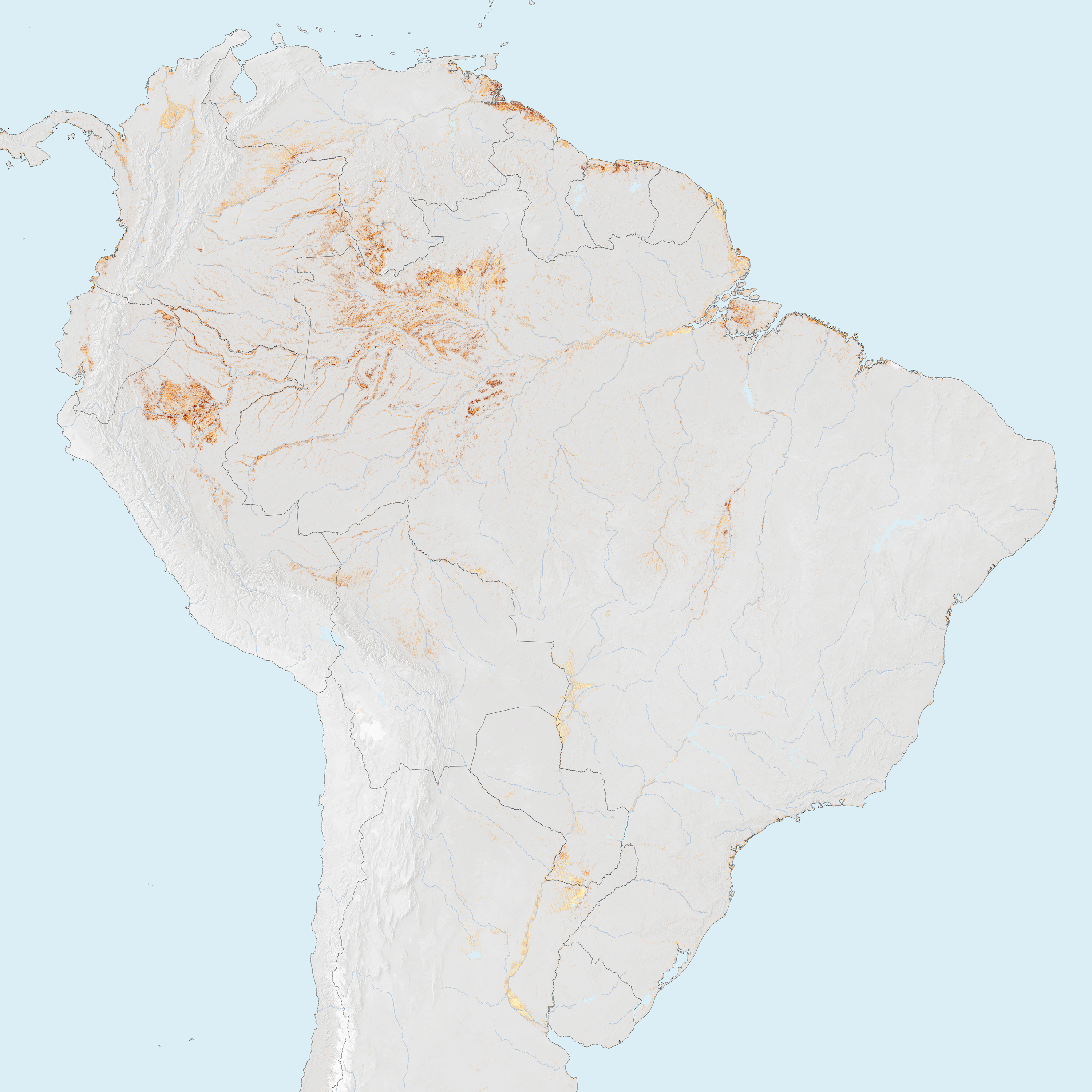 Map Of South America 2017.South America Tropical Peat Map Populationdata Net