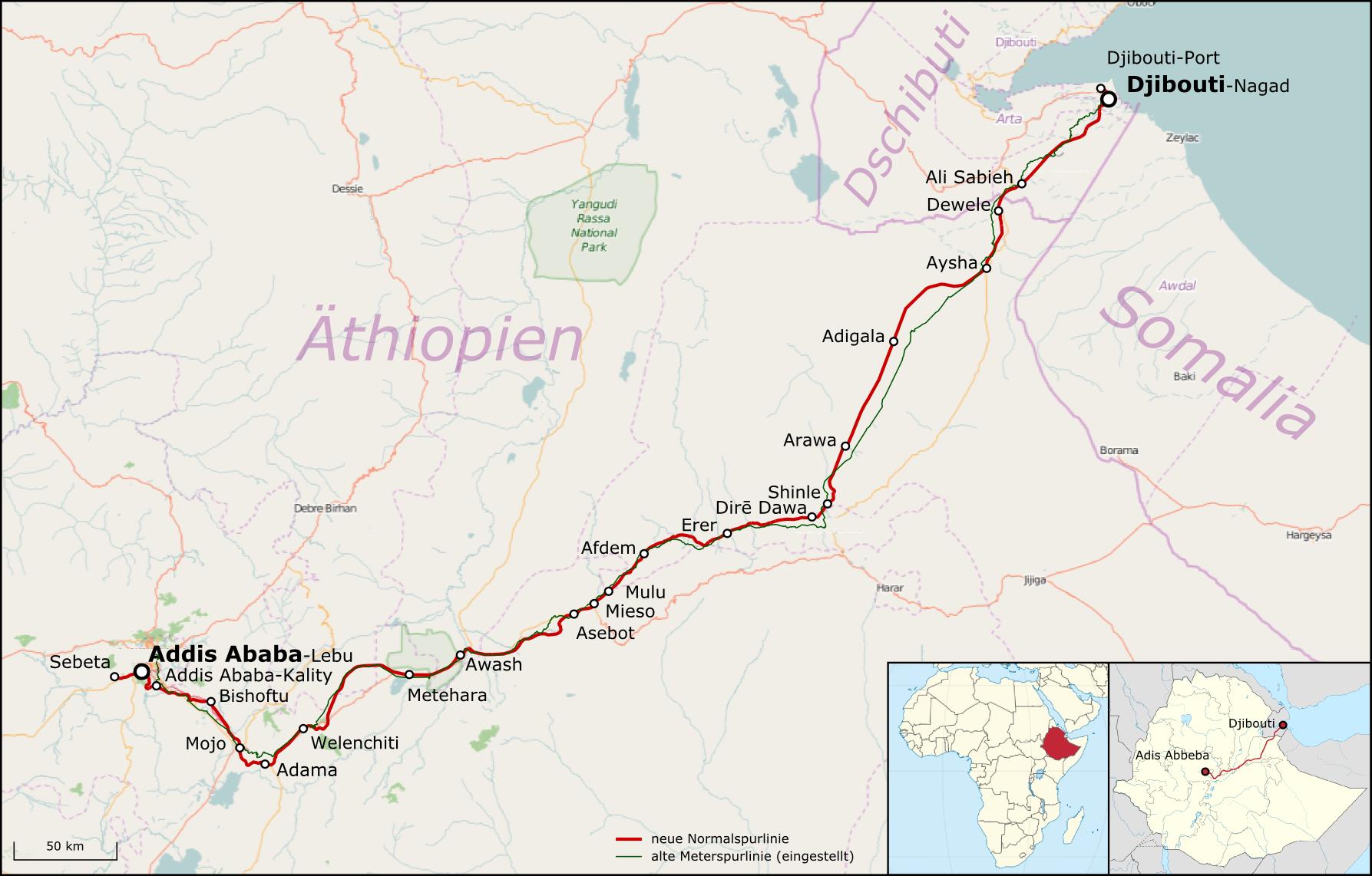 Ethiopia-Djibouti - Addis Ababa-Djibouti Railway • Map ...