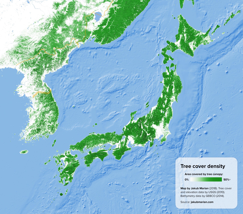Image of: Japan Korea Tree Cover Density Map Populationdata Net