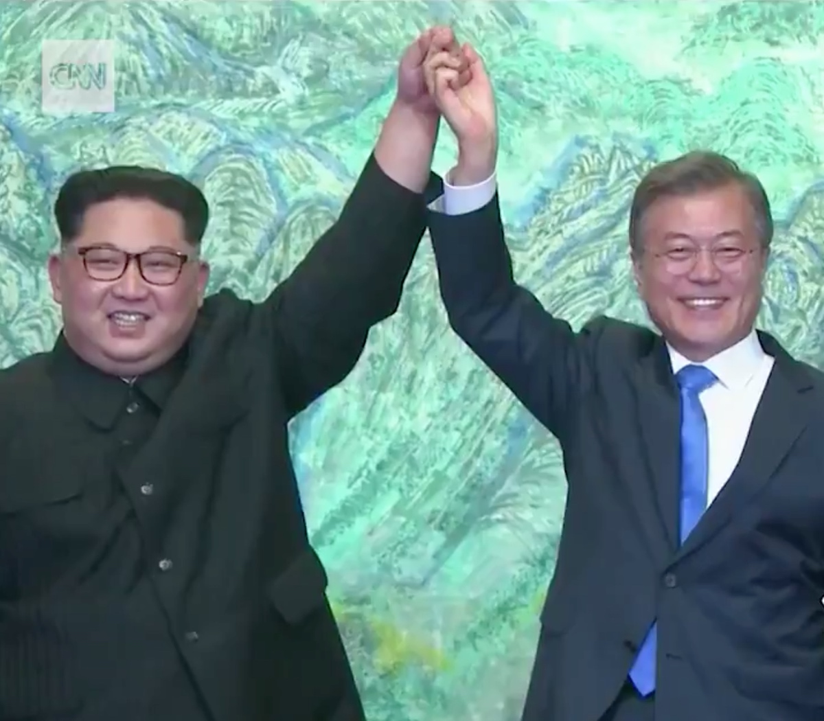 Kim Jong-un and Moon Jae-in, leaders of the two Koreas, at a meeting on April 27, 2018