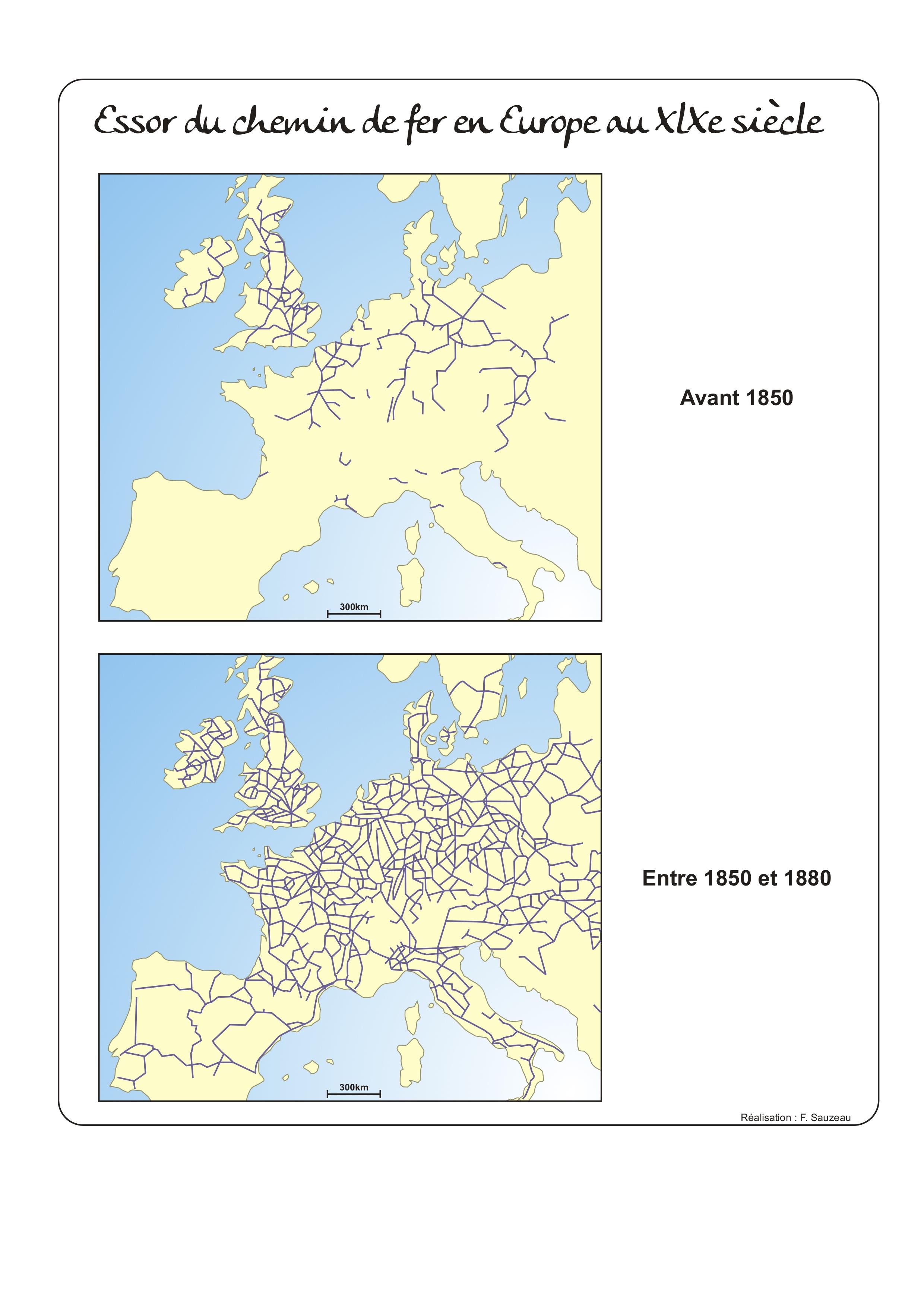 Europe - Railway: 19th century development • Map ...