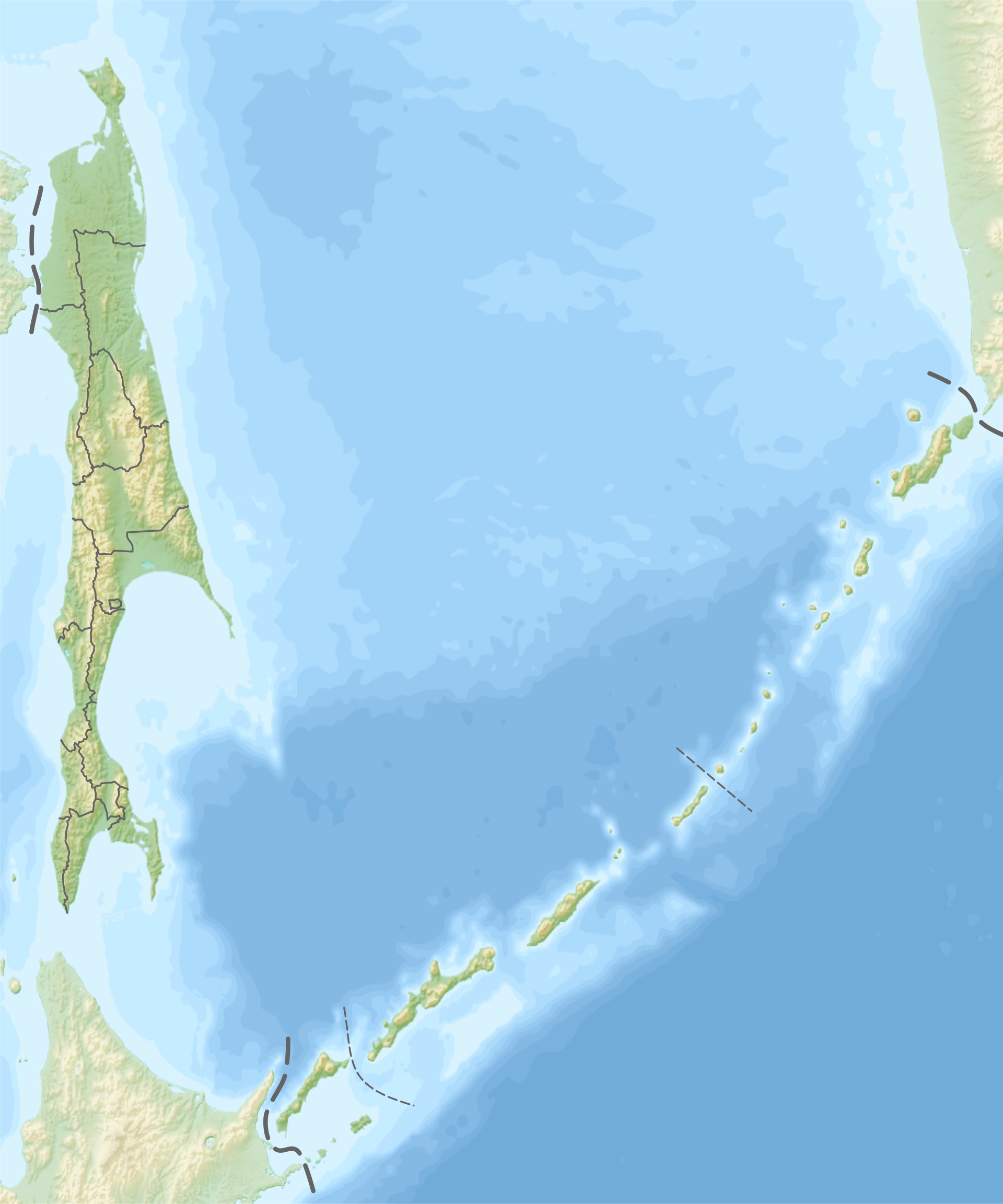 Russia - Sakhalin and Kuril Islands: topographic • Map ...