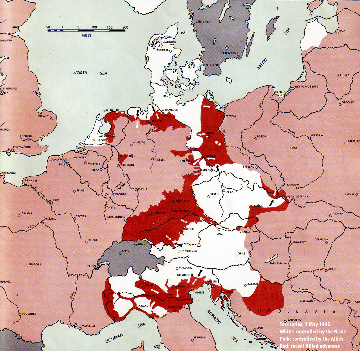 Europe - World War II: Front, May 1, 1945 • Map ...
