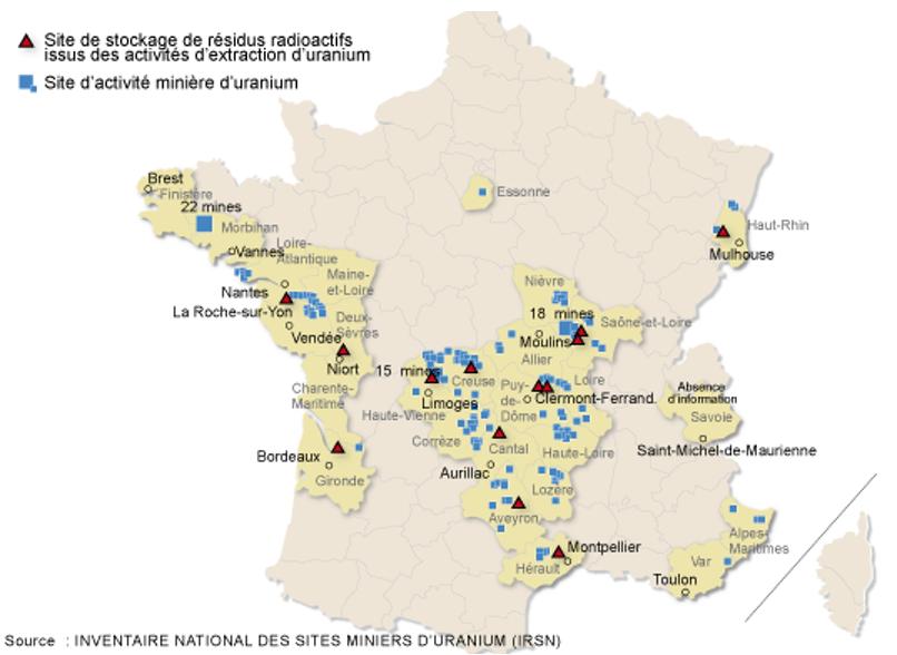 mine d or en france carte France   uranium mines and storage sites • Map • PopulationData.net