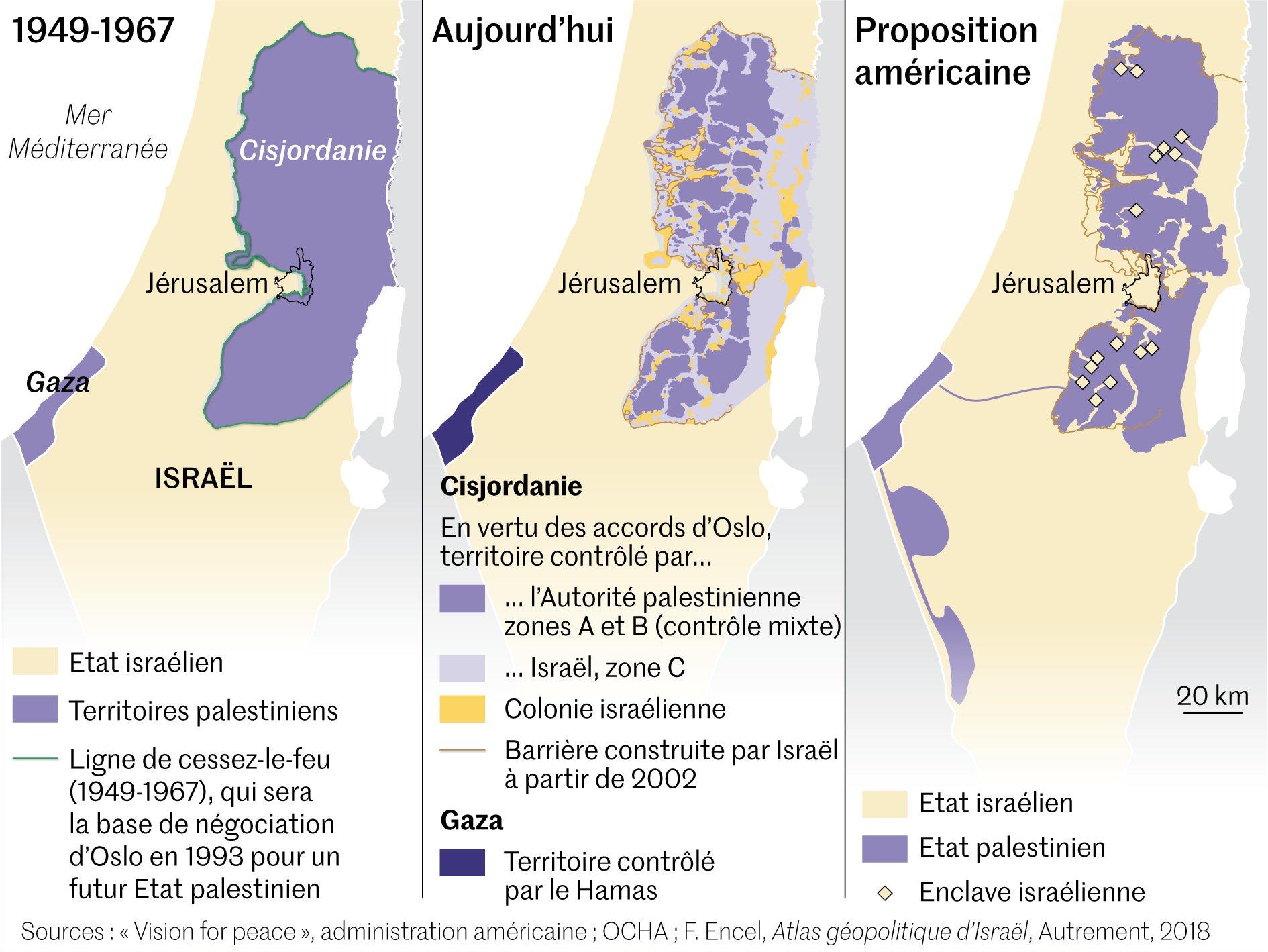 Israel-Palestine (1949-2020) • Map • PopulationData.net