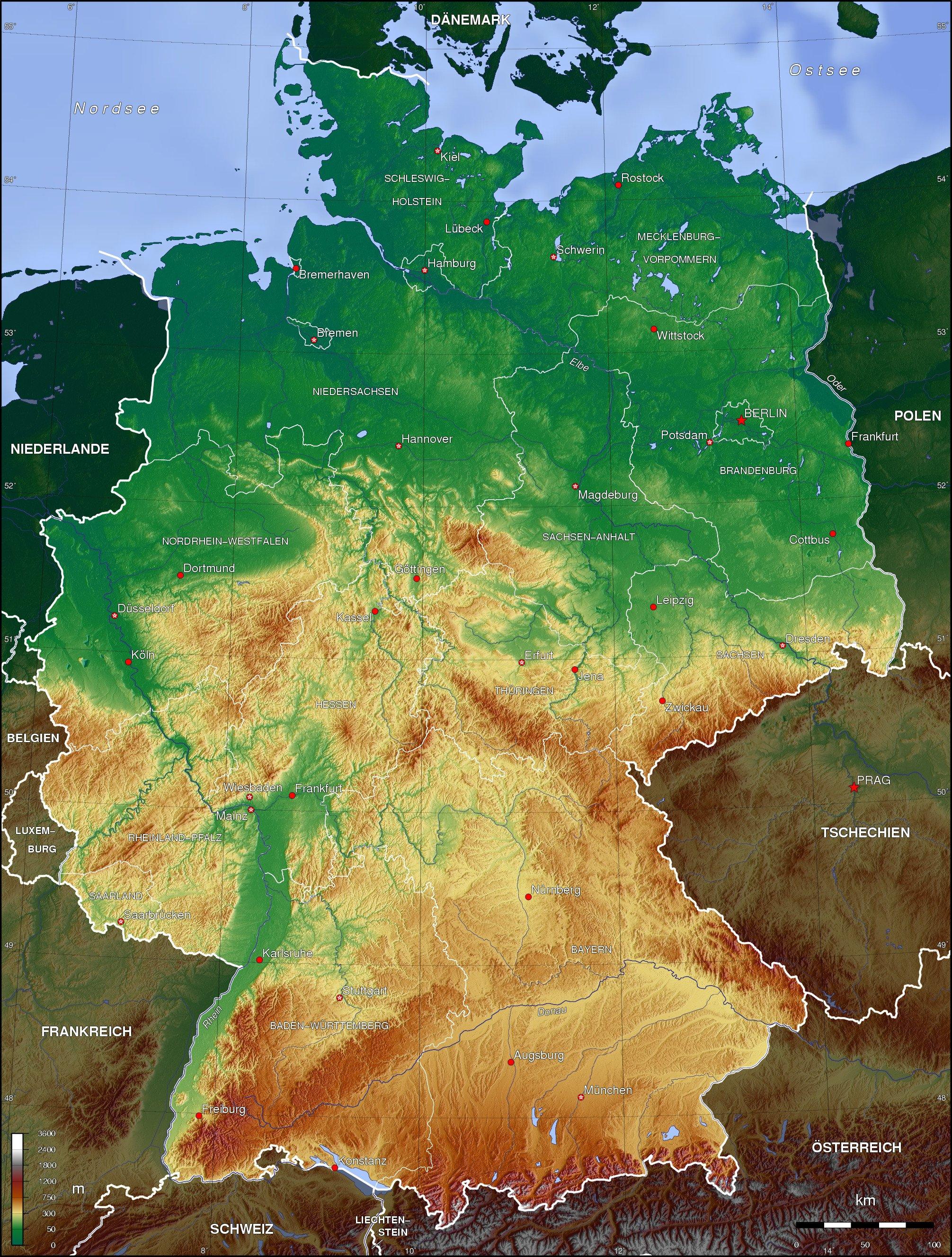 Germany Topographic Map Populationdata Net