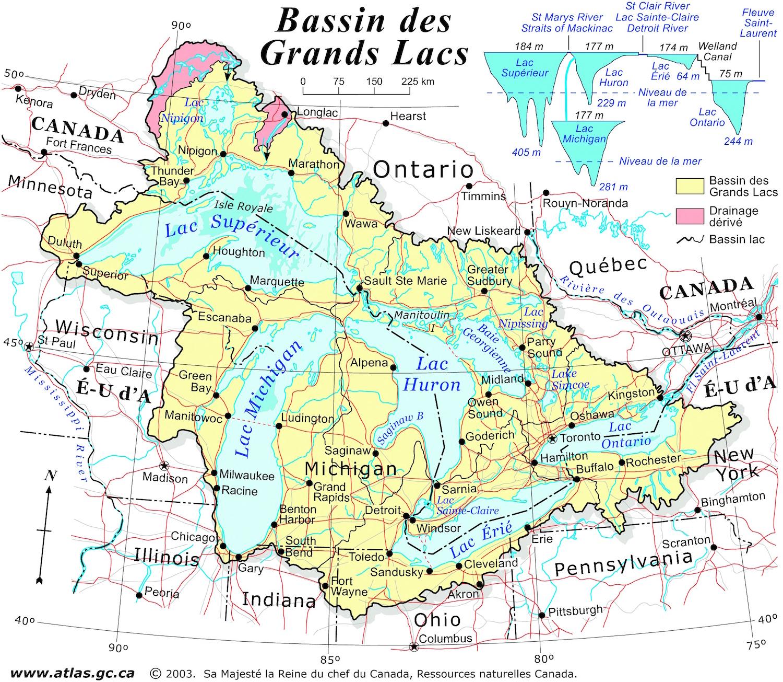 Map Etats Unis Canada Canada   États Unis : Bassin des Grands Lacs • Map