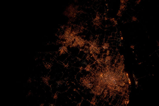China - Shanghai by night seen from space