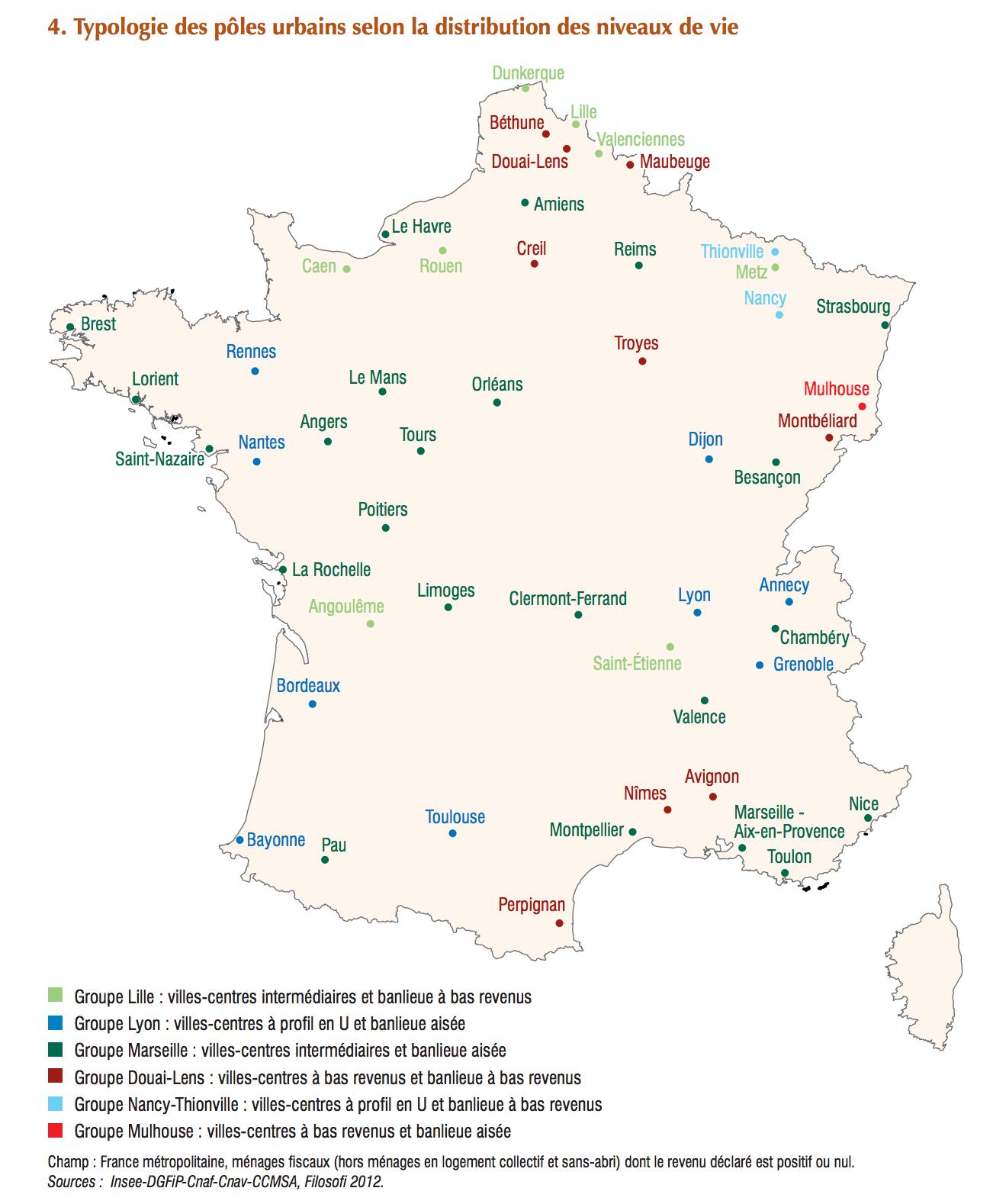 carte france grande ville France   niveau de vie des grandes villes (2012) • Map