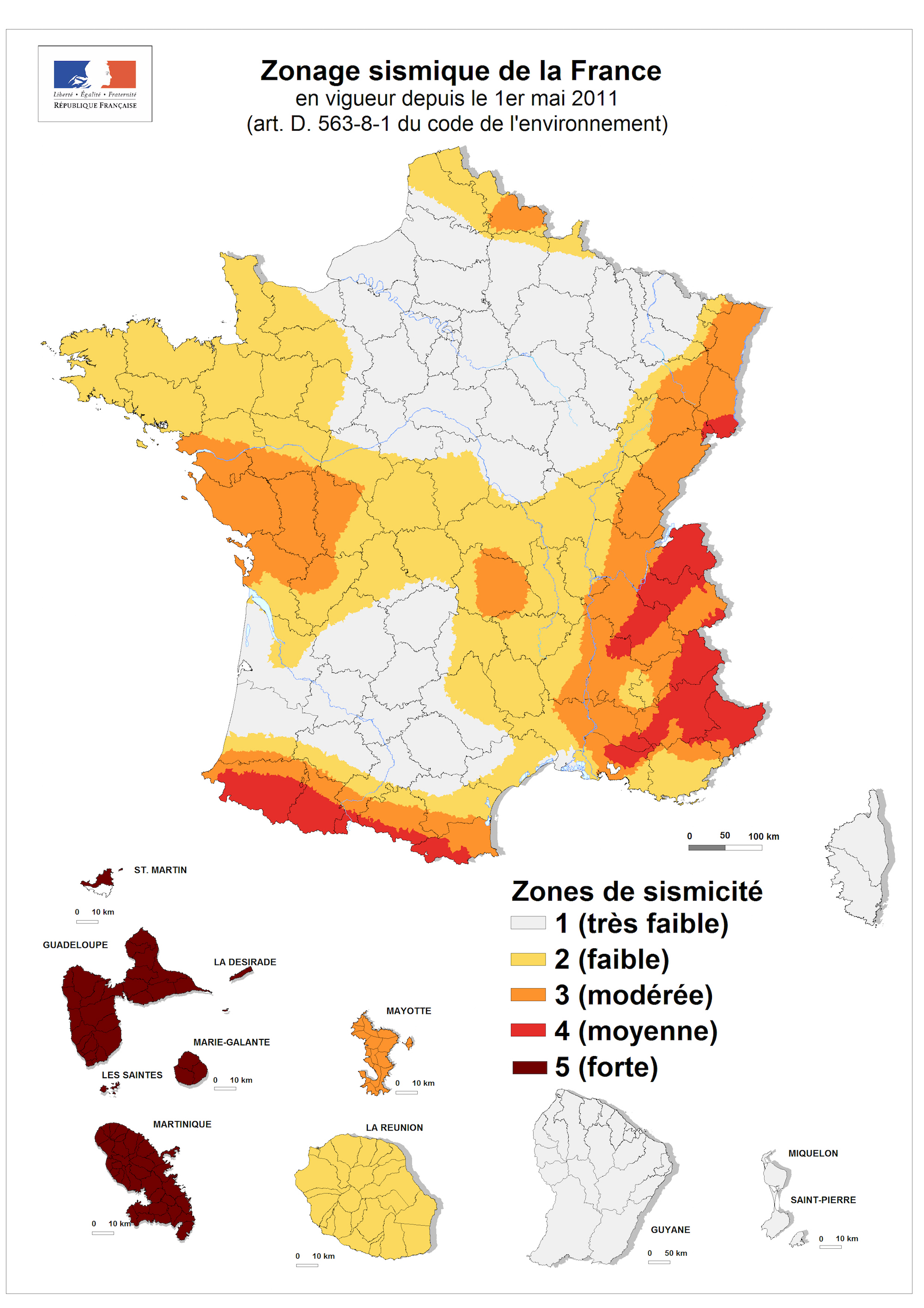Map Of France Zones.France Seismic Zones Map Populationdata Net