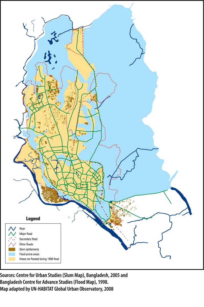 Bangladesh - Dacca : zones inondables