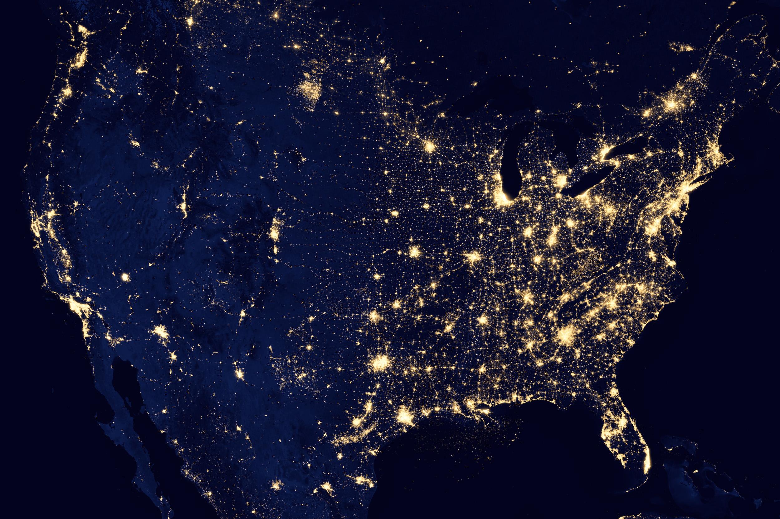 États-Unis - lumières de la nuit