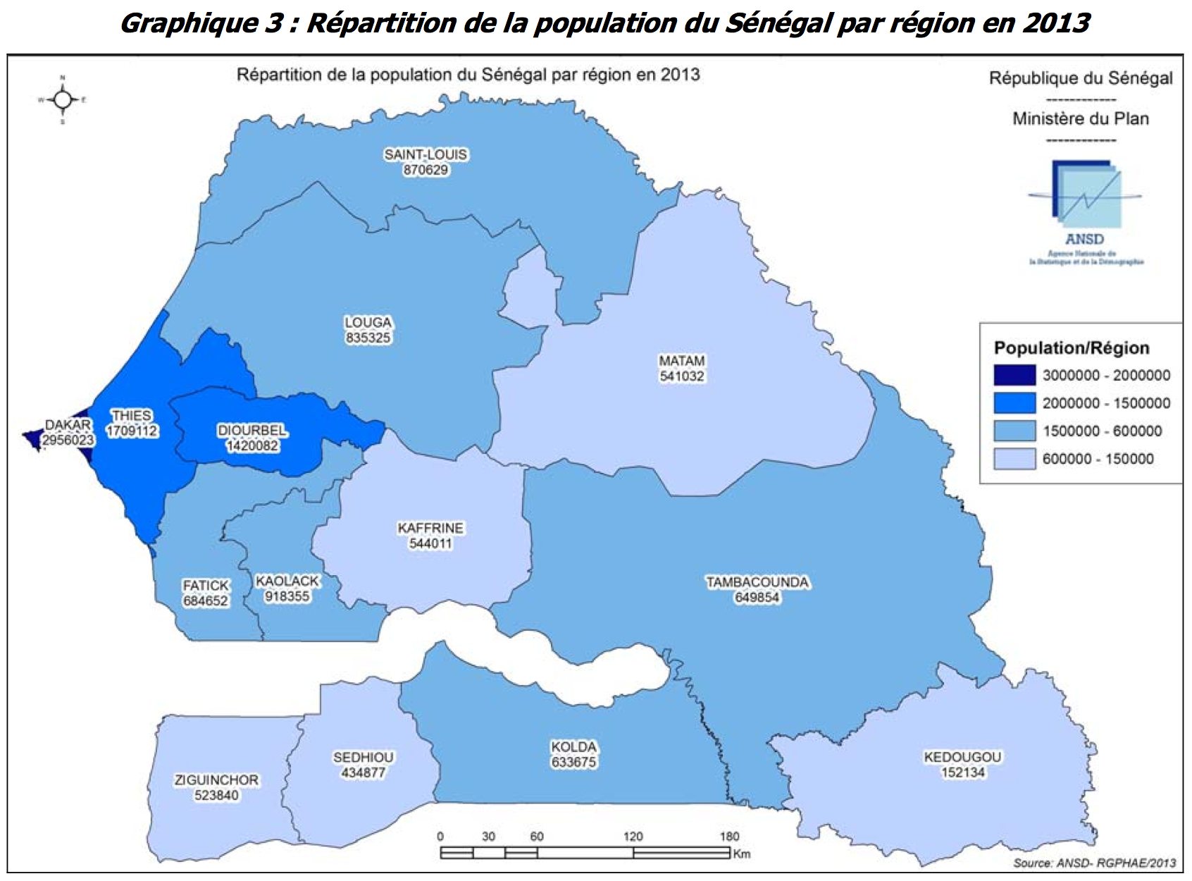 Senegal Population By Region Map Populationdata Net