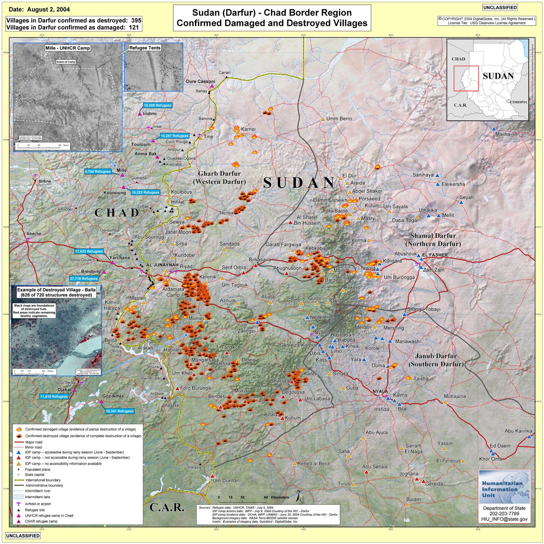 Soudan - Darfour. Villages détruits (août 2004)